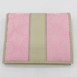 Coach Compact Wallet Rose & Light Khaki Color